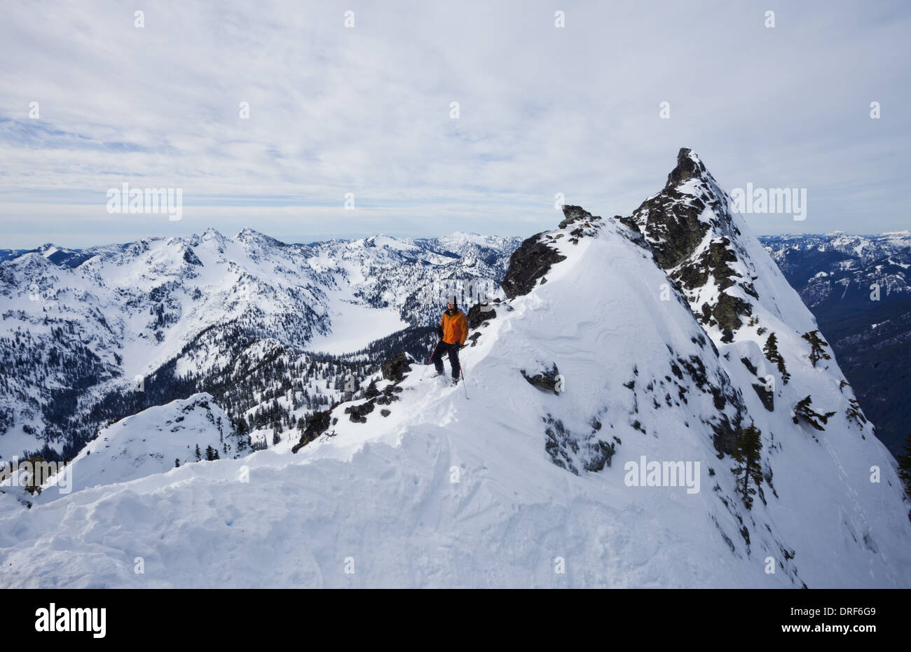 Snoqualmie Peak Washington state USA. The Slot Snoqualmie Peak Cascades Ranges USA skier - Stock Image