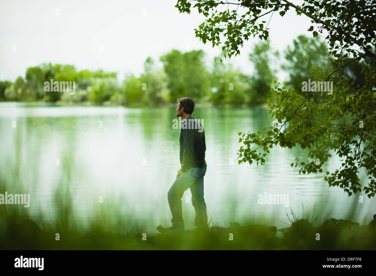 Colorado USA man standing alone looking in distance in thought - Stock Image