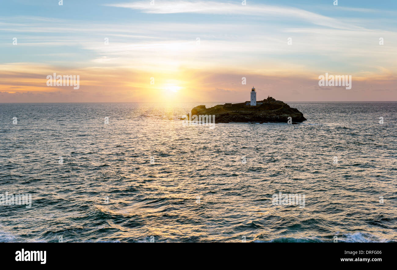 The lighthouse on Godrevy Island near St Ives in Cornwall - Stock Image