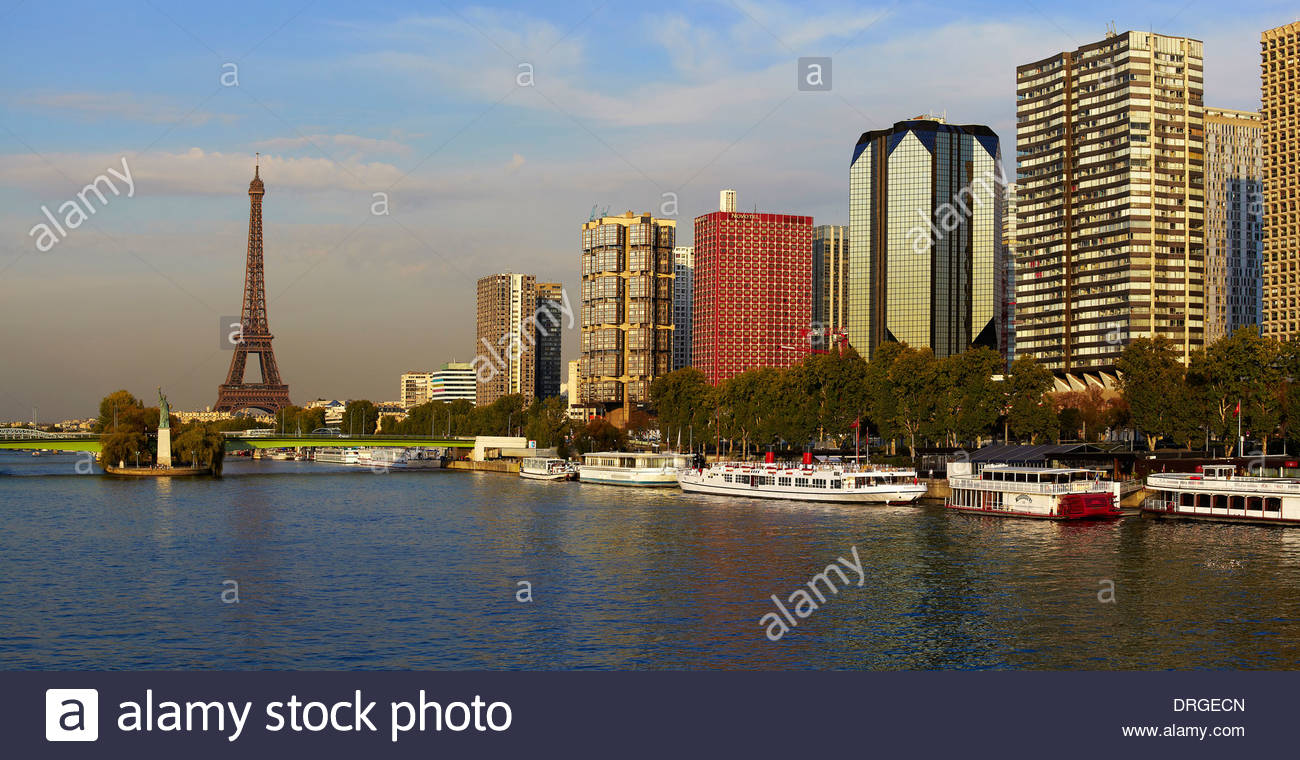 view from pont mirabeau bridge over seine river to the skyscrapers - Stock Image