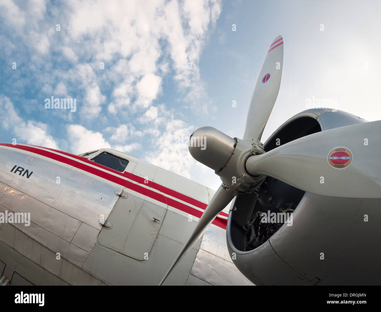 Douglas DC-3 vintage aircraft exhibited at the Swiss national museum of transportation ('Verkehrshaus') - Stock Image