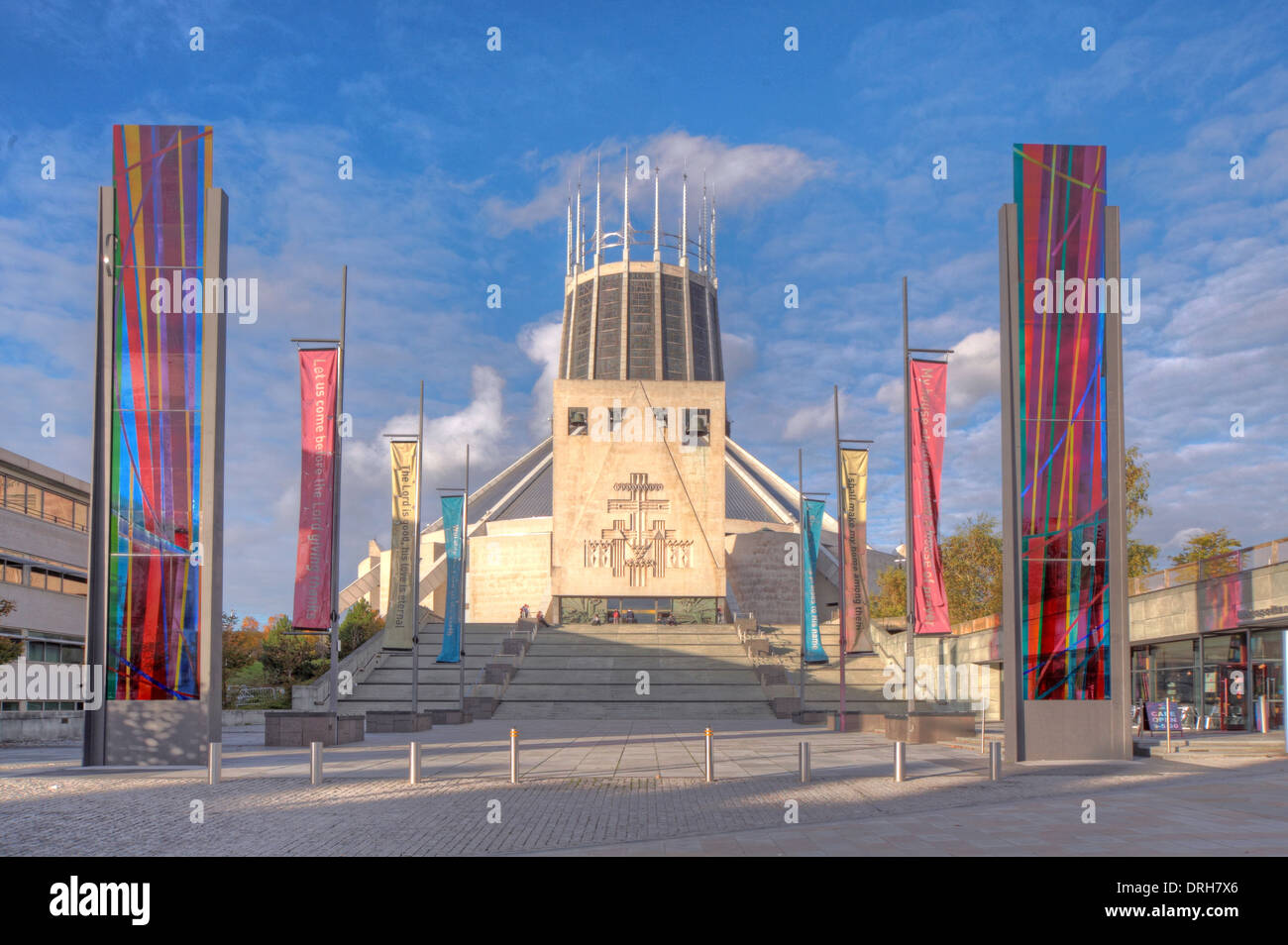 religion,uk,merseyside,england,GB,UK,Great,Britain,Metropolitan,Mount,pleasant,tourist,attraction,Paddys,Wigwam,paddys,funnel,concrete,brutalist,church,religious,Archbishop,of,irish,building,architect,Frederick,Gibberd,winner,main,entrance,Portland,stone,cladding,and,a,lead,covering,GoTonySmithcolourful,colorful,shots,of,1970,1970s,architecture,travel,site,tourists,immigrants,evening,summer,Grade,II,grade2,gradeII,tower,sight,sights,competition,Brownlow,Hill,roof,L3,5TQ,L35TQ,Buy Pictures of,Buy Images Of