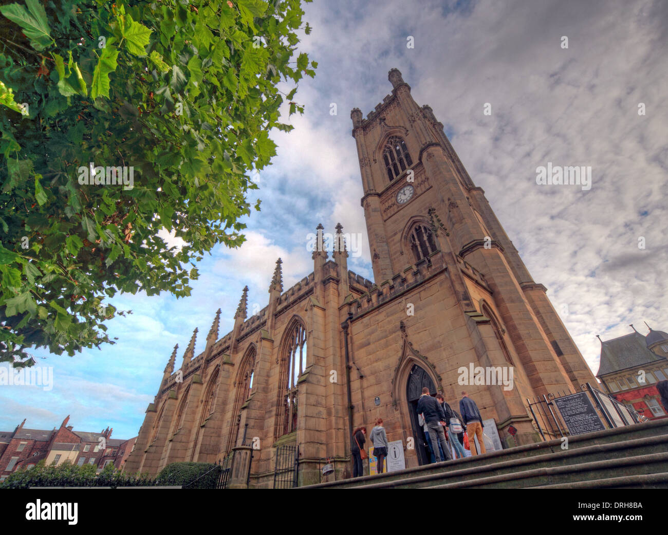 parish,church,known,locally,as,the,Bombed,Out,Church,shell,monument,to,the,second,world,war,worldwar,Berry,Street,and,Leece,St,looking,down,the,length,of,Bold,Street,John,foster,architect,surveyors,for,the,municipal,Corporation,of,Liverpool,event,events,Grade,II,grade2,gradeII,blitz,wide,GoTonySmith Bold St,Liverpool,Merseyside,England,UK the bombed-out bombedout angle wideangle ashlar sandstone,and,is,in,Perpendicular,style.,Its,plan,currently,consists,of,a,five-bay,nave,a four-bay chancel with an apsidal end,and a west tower,Buy Pictures of,Buy Images Of