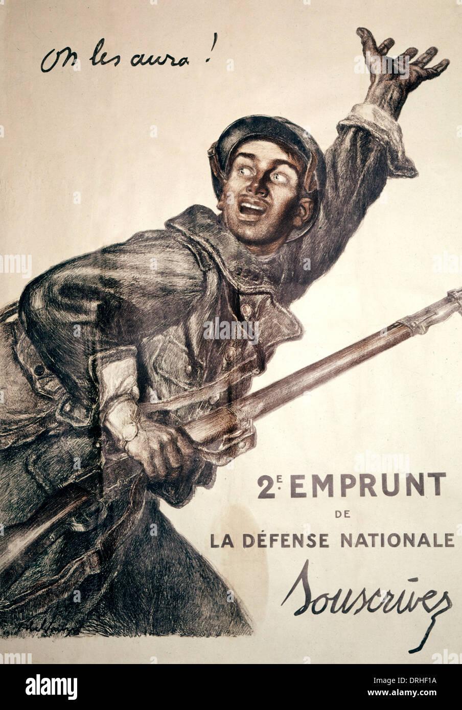 French poster advertising war bonds, WW1 - Stock Image
