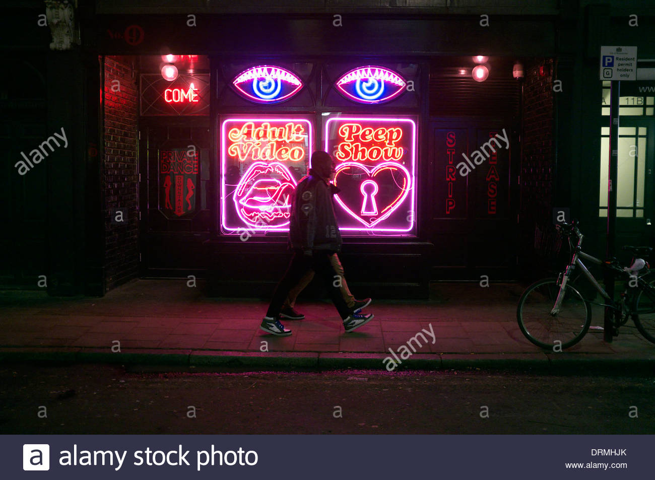 Neon signs on the exterior of La Bodega Negra. The premises are not a sex club, but a Mexican restaurant & cafe Stock Photo