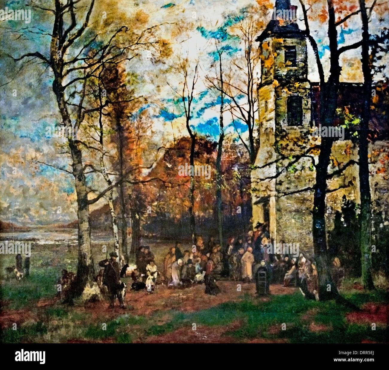 Saint Hubert's mass' (1871) Hippolyte Boulenger (1837-1874) Flemish Belgian Belgium - Stock Image