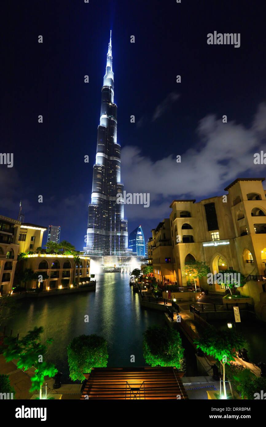 Dubai, Burj Khalifa at night. - Stock Image