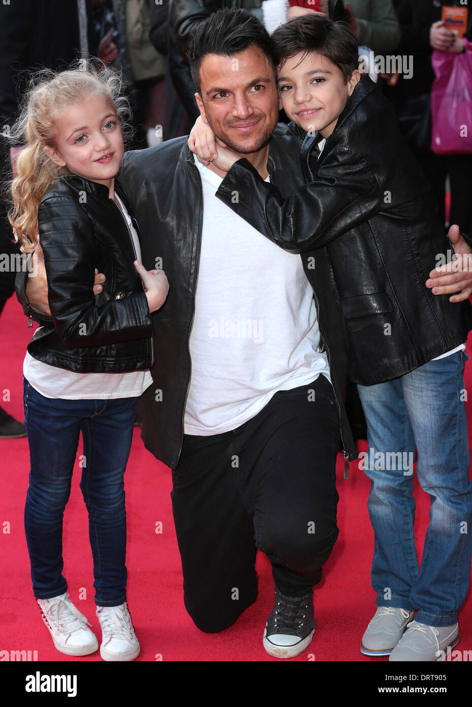 London uk 1st february 2014 peter andre with his two children london uk 1st february 2014 peter andre with his two children princess tiaamii crystal esther andre and junior savva andreas andre arrives for the vip m4hsunfo