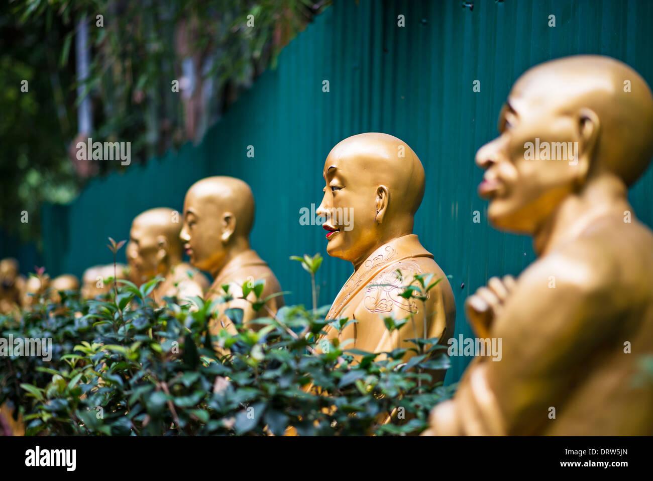 Buddha statues at Ten Thousand Buddhas Monastery in Hong Kong, China. - Stock Image