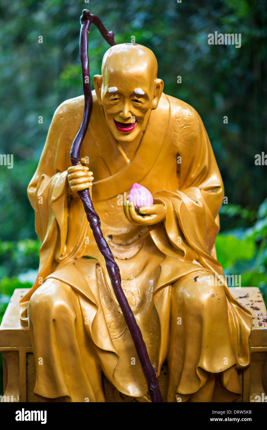 Buddha statue at Ten Thousand Buddhas Monastery in Hong Kong, China. - Stock Image