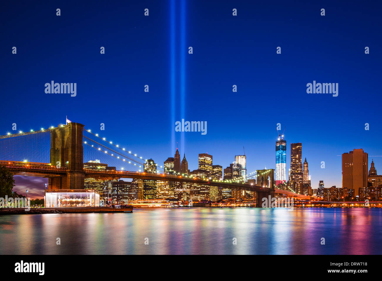 New York City with September 11 Tribute in Light. - Stock Image
