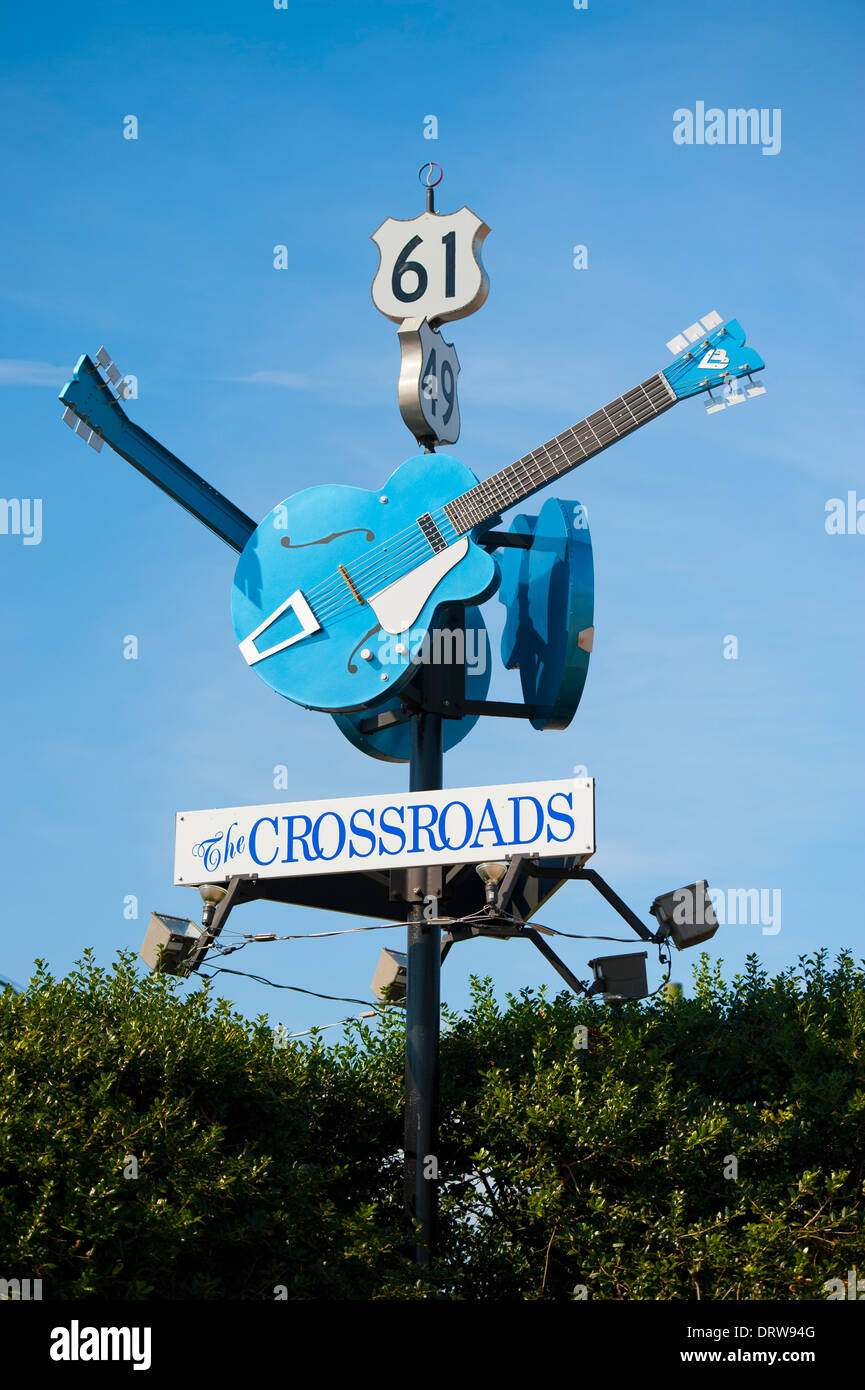 USA Mississippi MS Miss Clarksdale street road sign signs for the blues crossroads Stock Photo