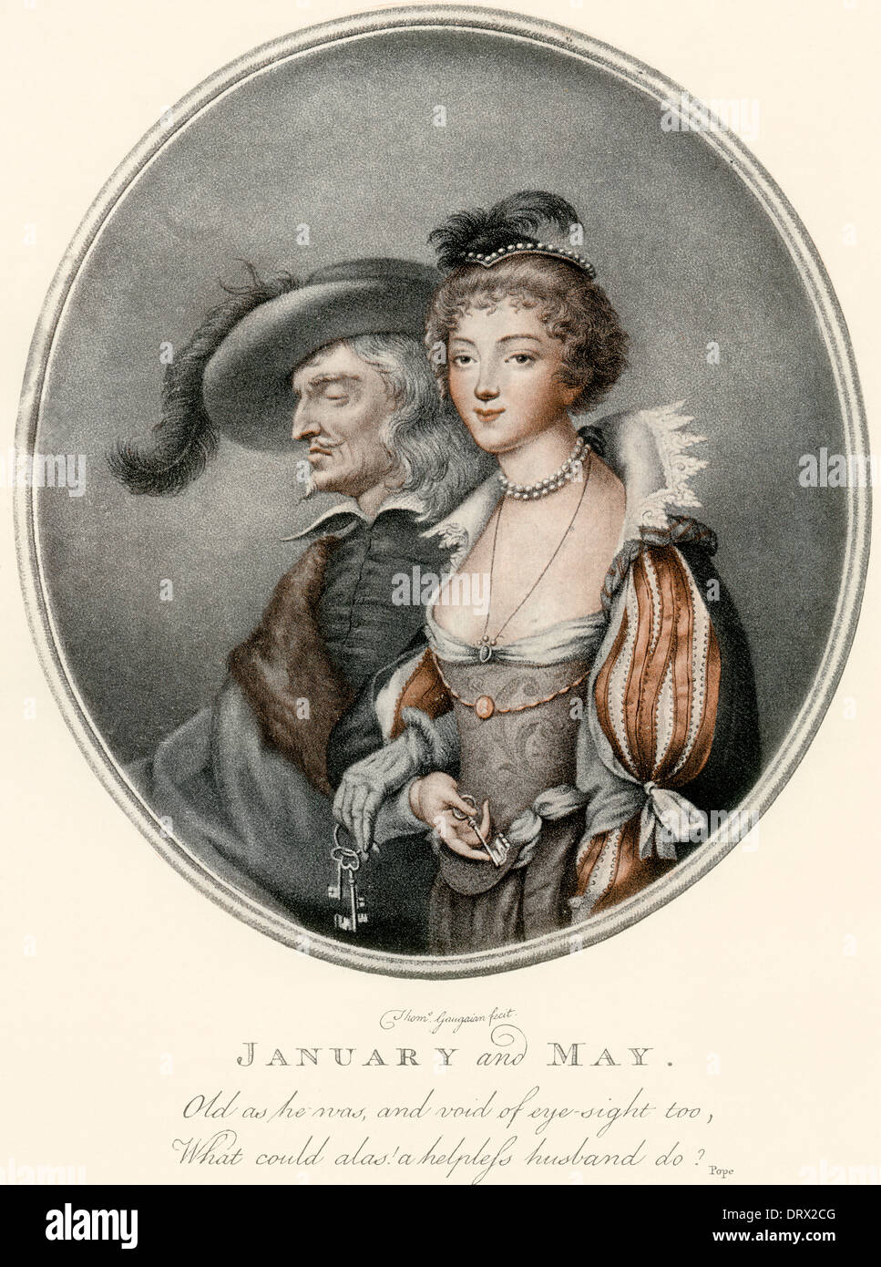 An illustration depicting the old husband and his young bride from Chaucer's The Merchant's Tale aka January - Stock Image