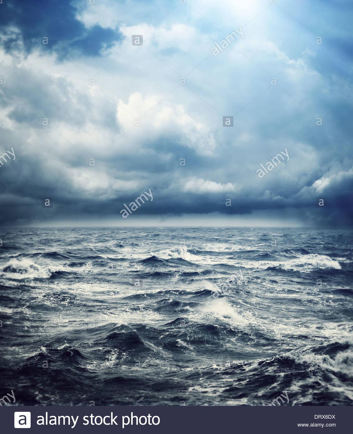 rough sea stormy sky - Stock Image