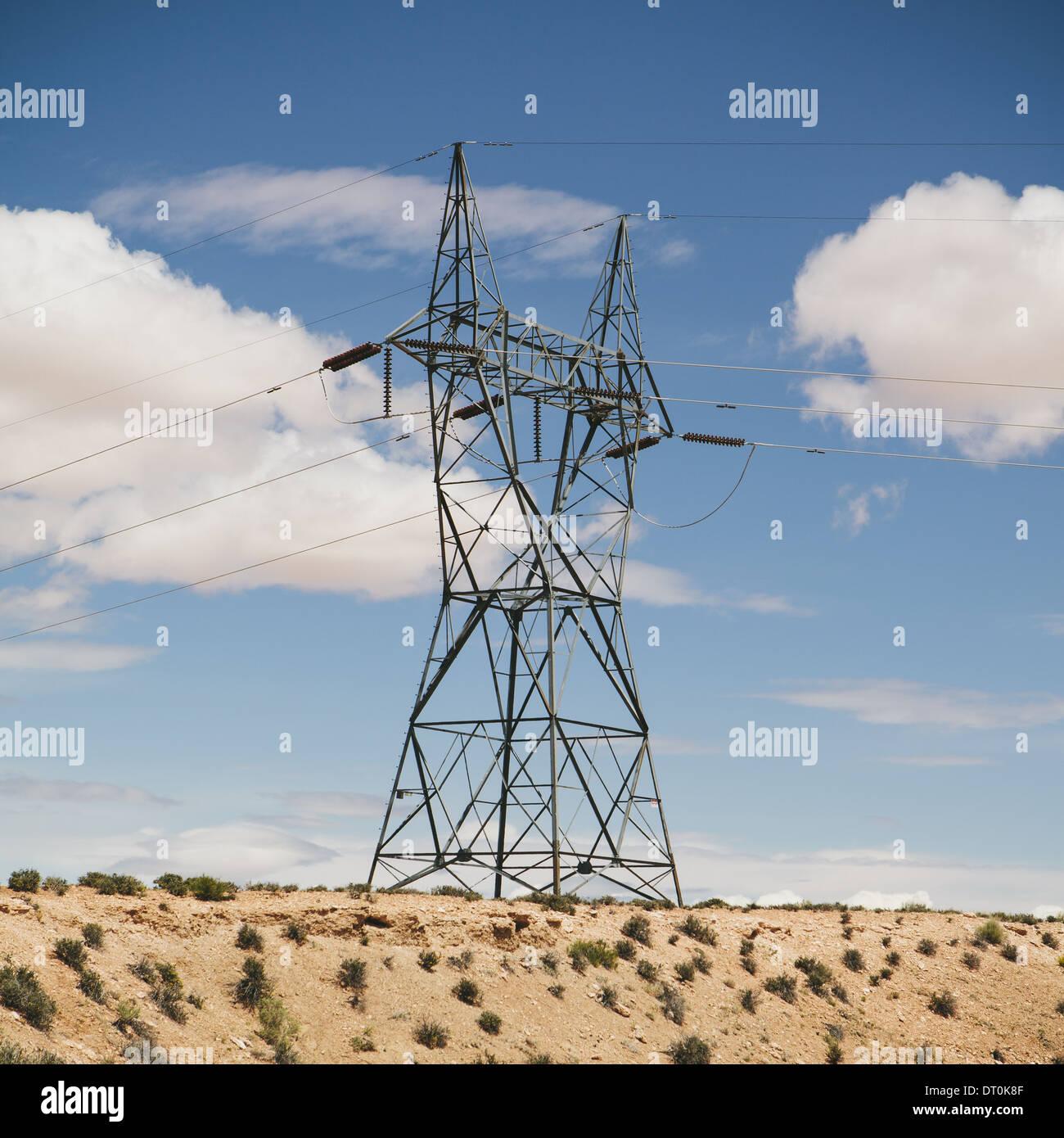 Tucson Arizona USA tall pylon carrying power lines in the desert - Stock Image