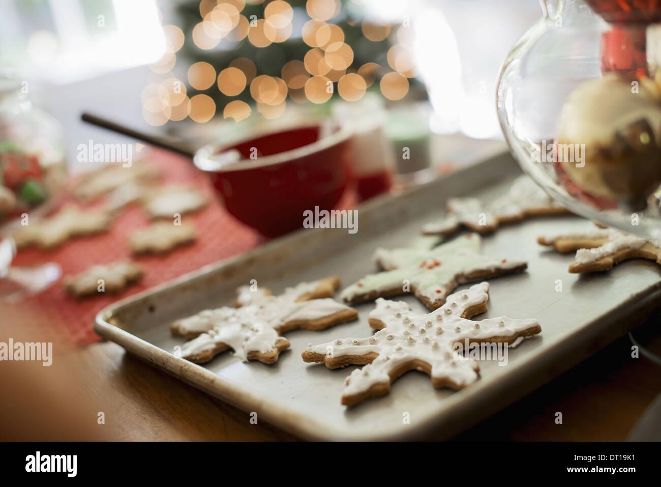 Woodstock New York USA homemade iced Christmas cookies icicles stars - Stock Image