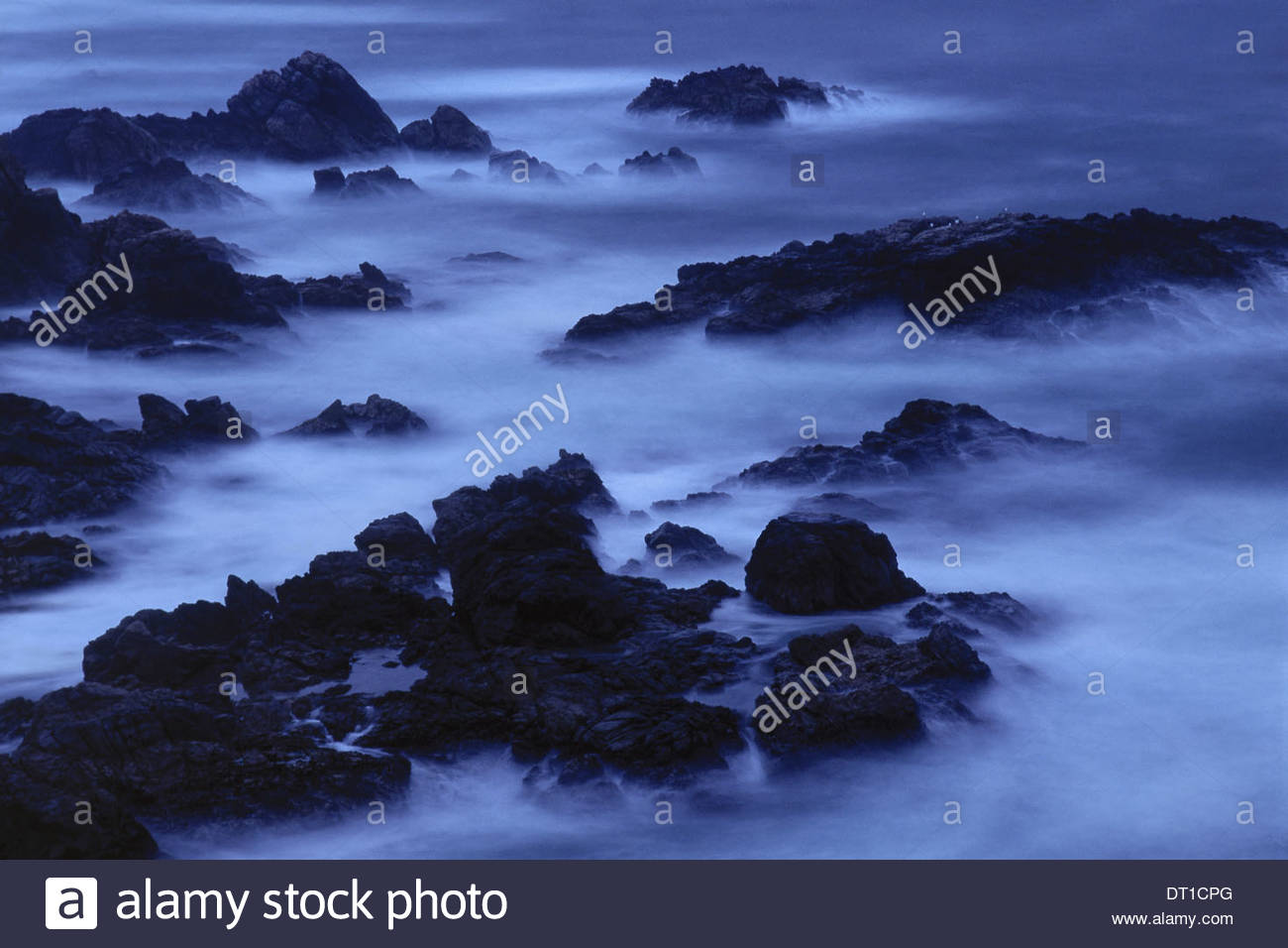 Big Sur California USA Surf at twilight Garrapat State Beach Big Sur - Stock Image