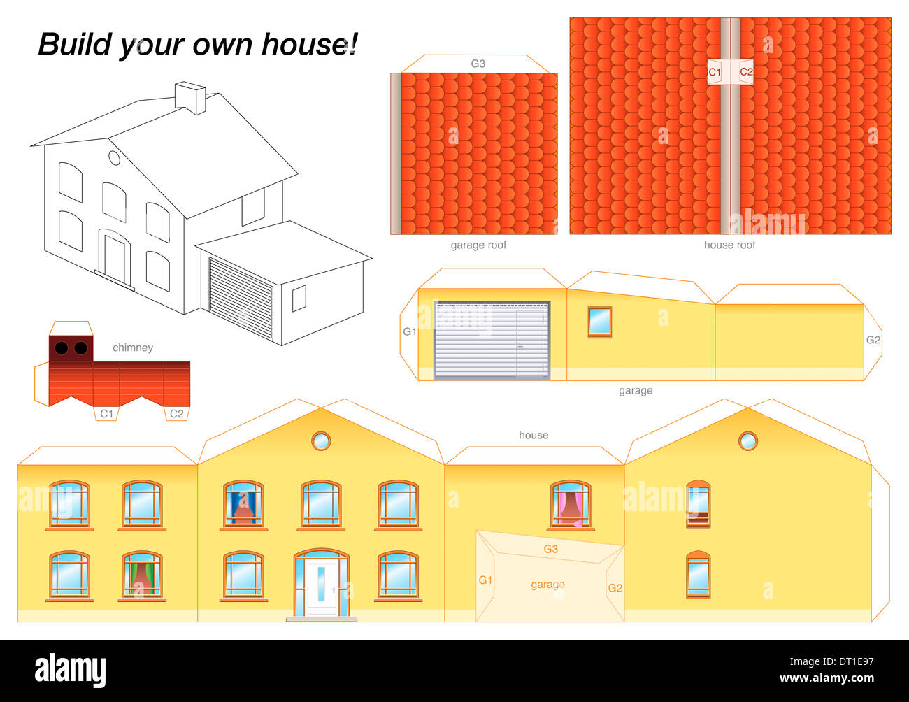 Paper Model Of A Yellow House With Garage   Easy To Make   Print It On