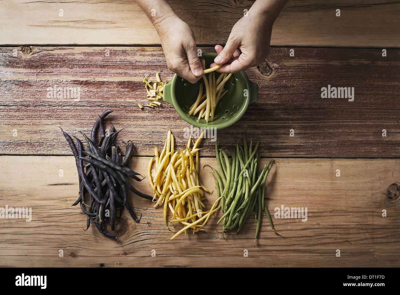 Organic green yellow and black haricot beans fresh vegetables being topped and tailed by a person before cooking - Stock Image