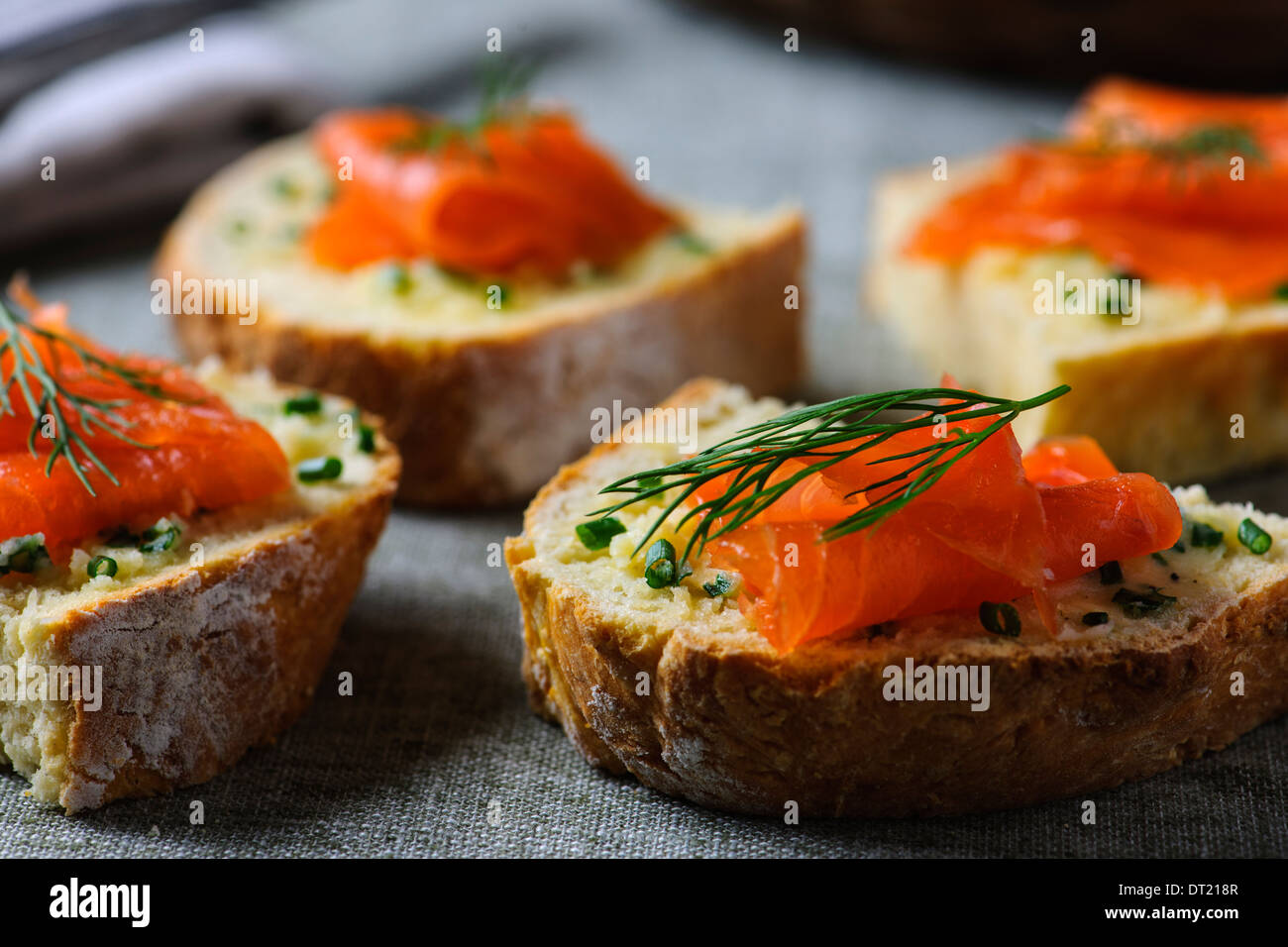 Irish Soda Bread with Smoked Salmon & Chive Butter - Stock Image