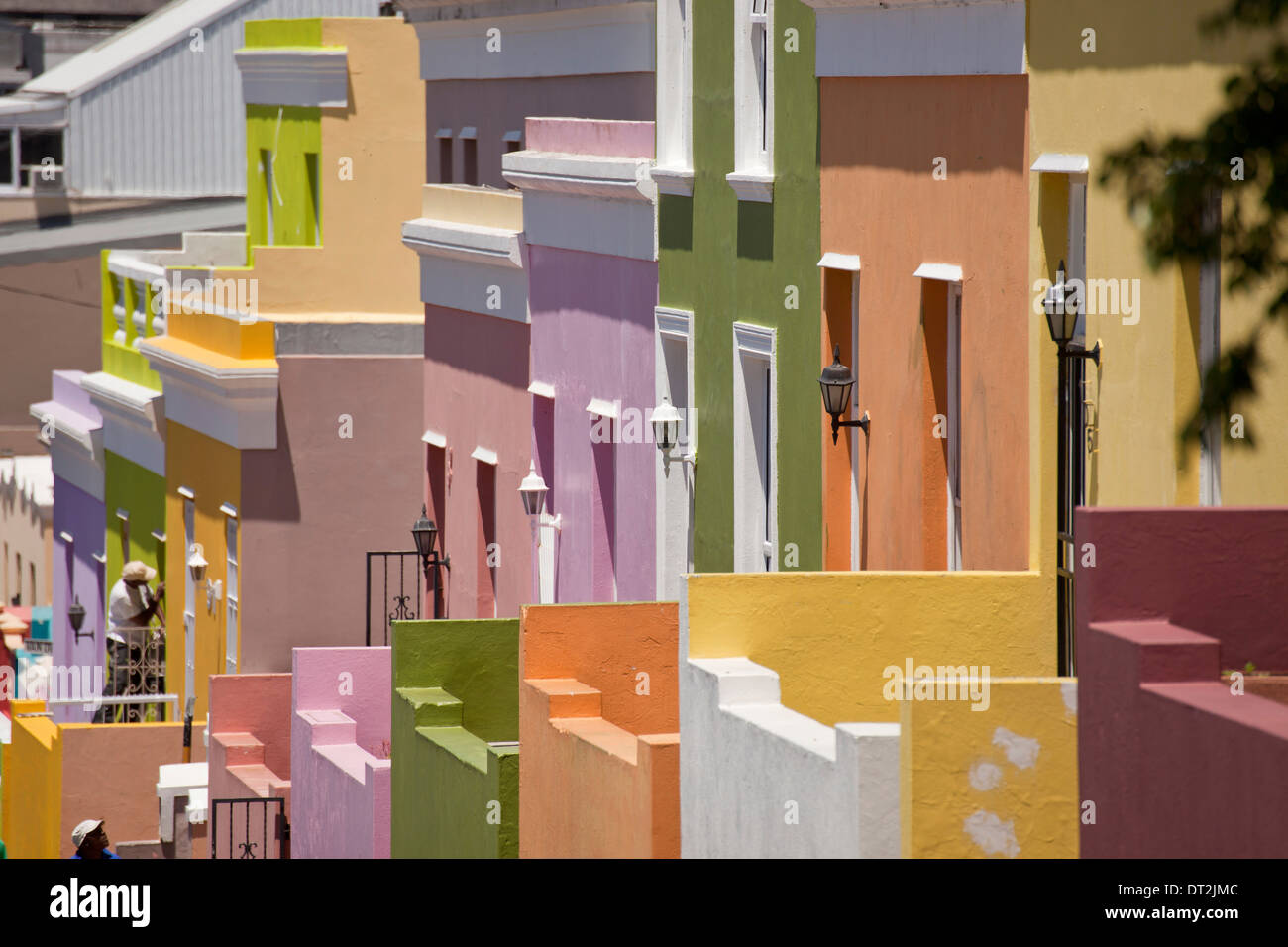 typical coloured homes in the quarter Cape Malay Bo-Kaap, Cape Town, Western Cape, South Africa - Stock Image