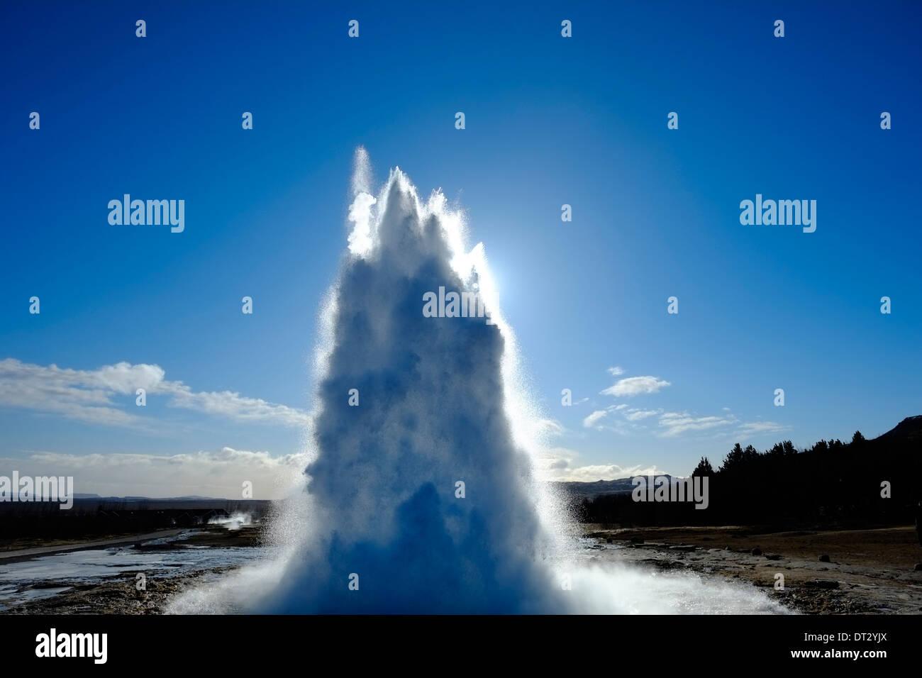 Strokkur, Geysir, Haukadalur, SW Iceland, Polar Region - Stock Image