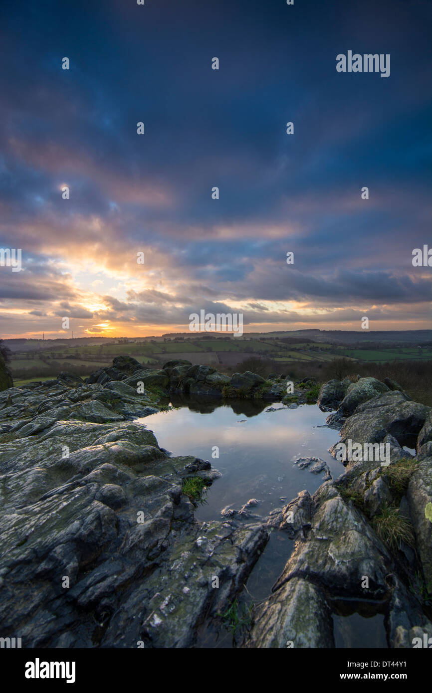 Stormy Sunset over Beacon Hill, Leicestershire. - Stock Image
