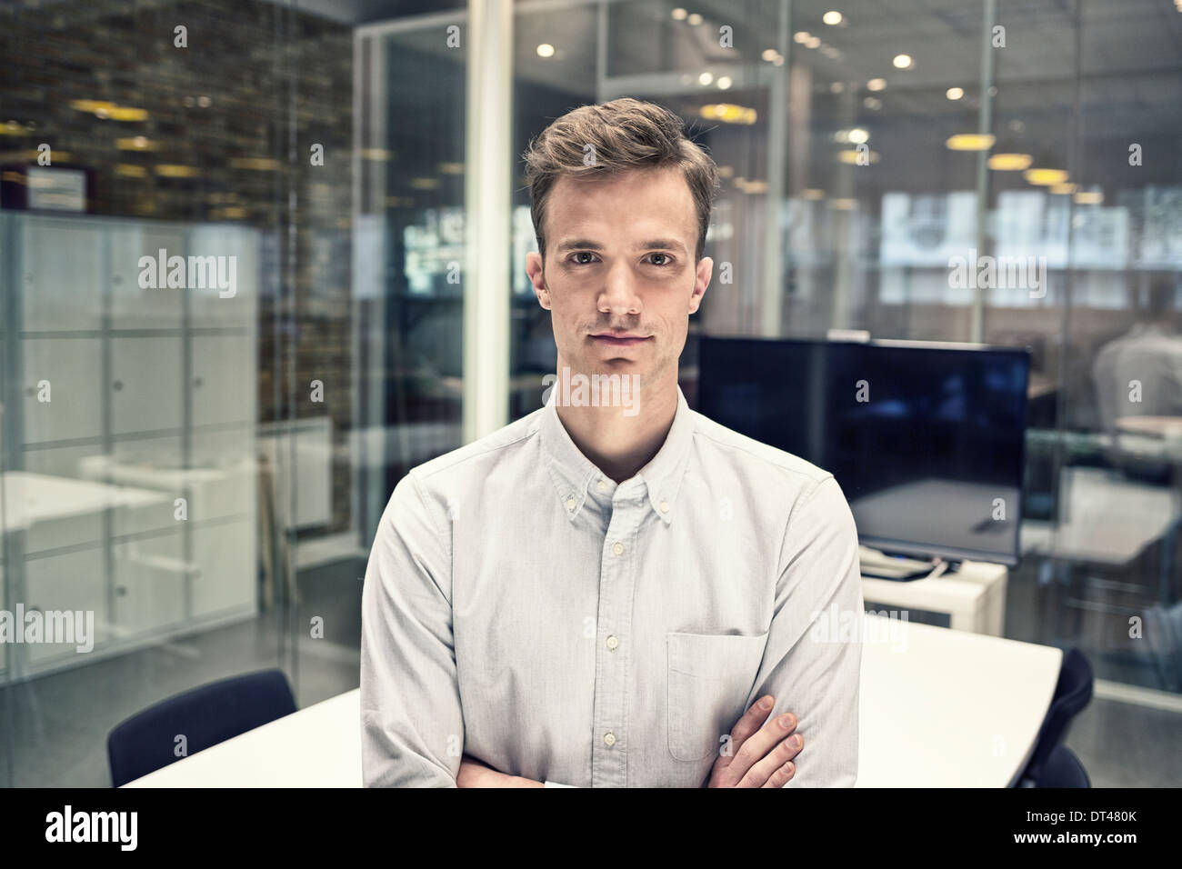 Business man black environment meeting room - Stock Image