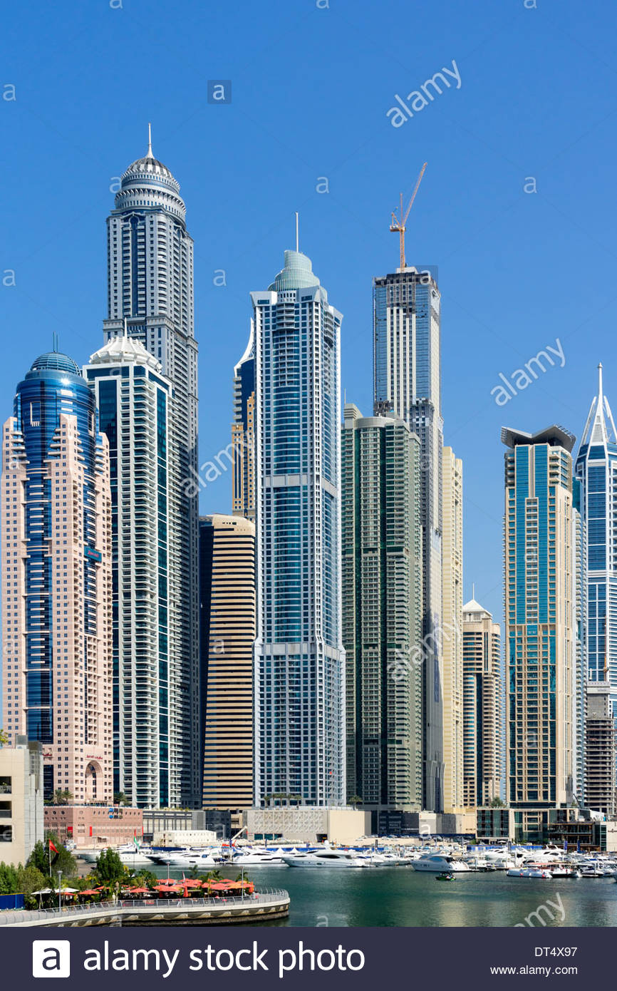 Skyscrapers at Marina district in Dubai United Arab Emirates - Stock Image