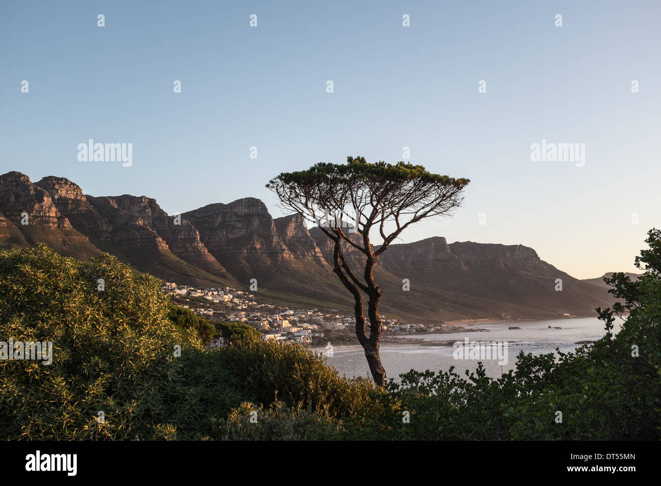 View of Camps Bay & The Twelve 12 Apostles, Cape Town, South Africa. - Stock Image
