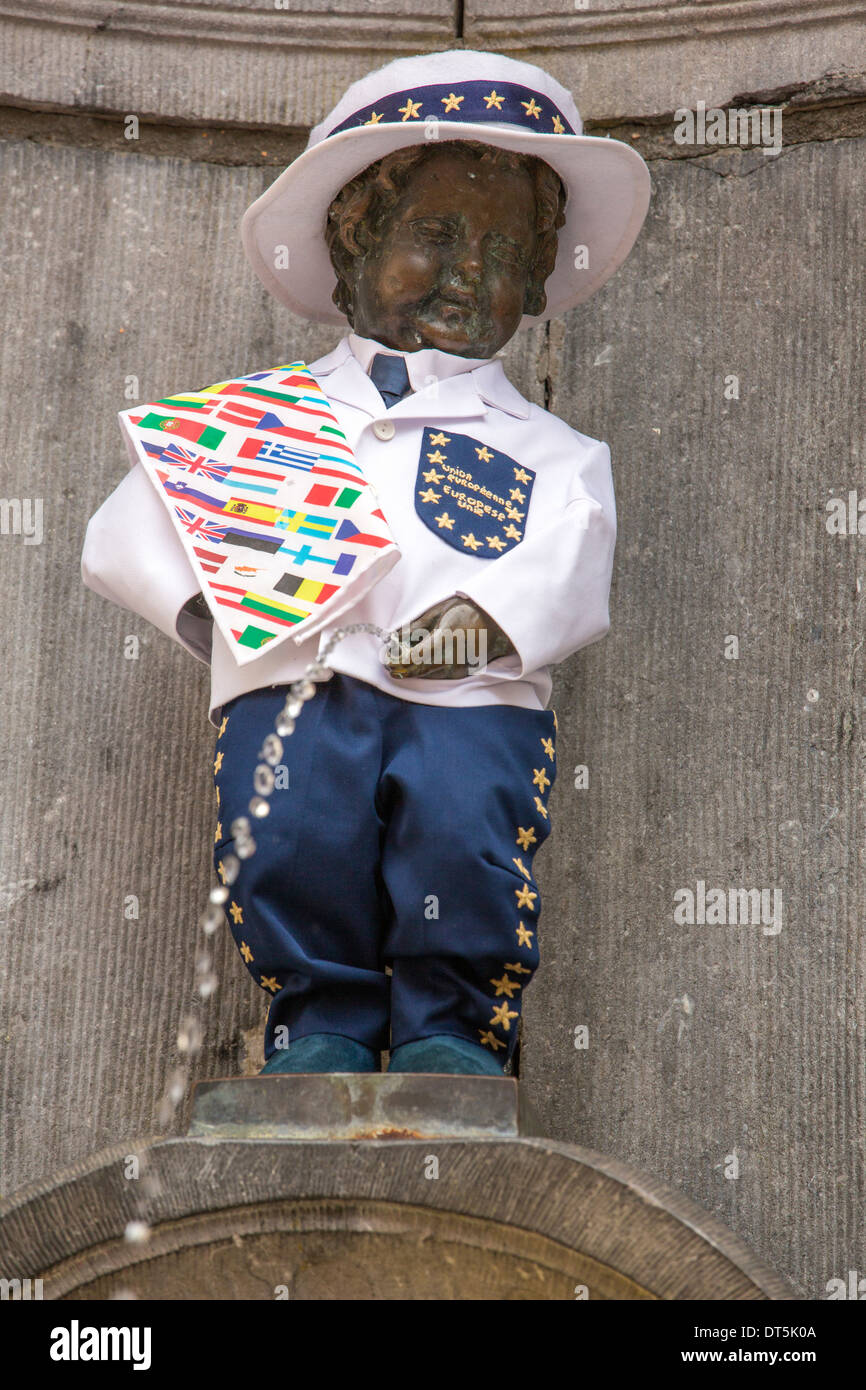 The Manneken Pis statue in Brussels in a jacket celebrating EU Day. - Stock Image