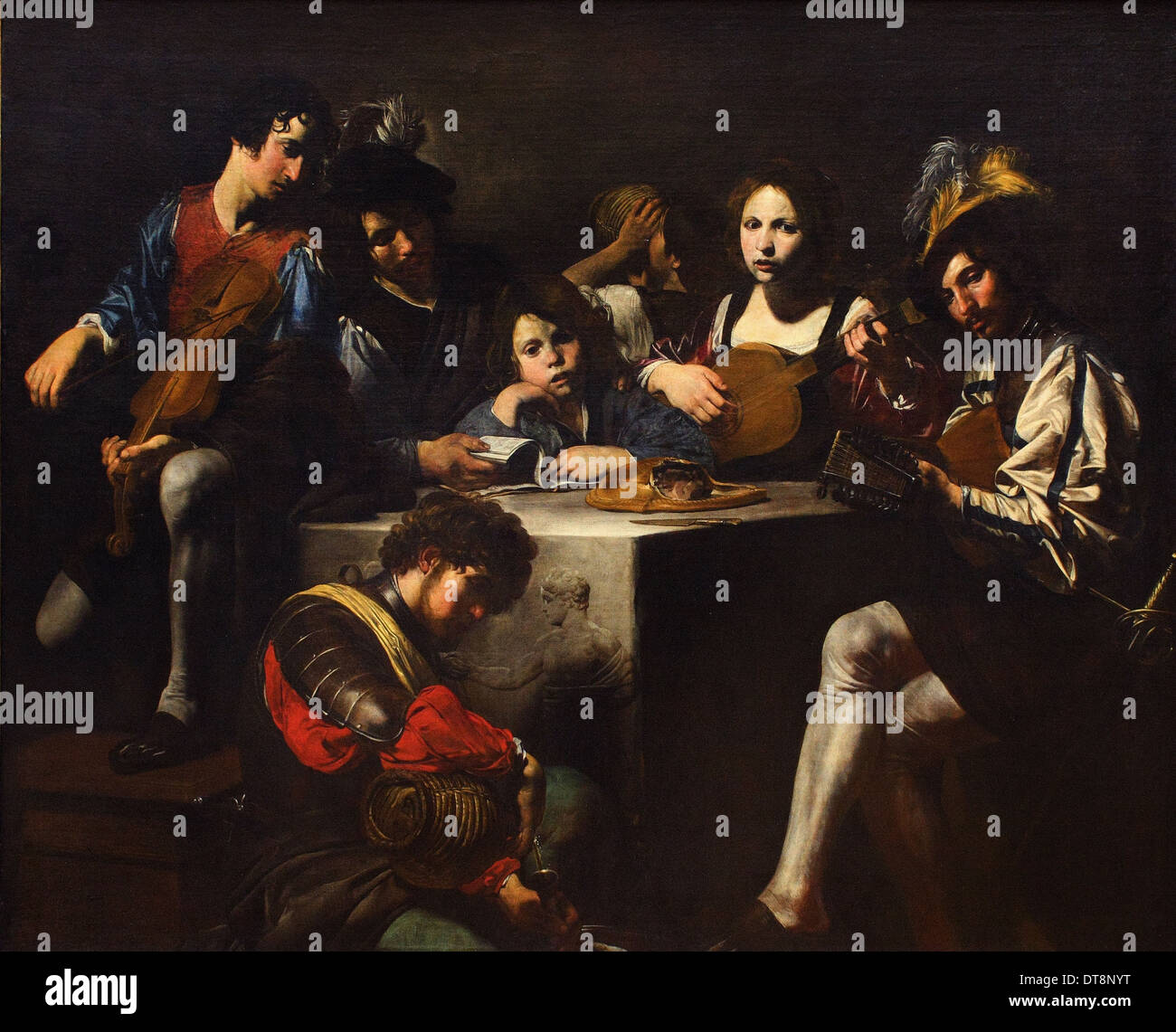 Valentin de Boulogne aka Valentin - The Concert in bas-relief - circa 1622 - 1625- Louvre Museum - Paris - Stock Image