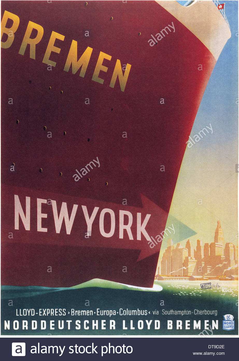 Bremen New York. Lloyd Express Line, 1937. Artist: Kück, Fritz (1893-1974) - Stock Image