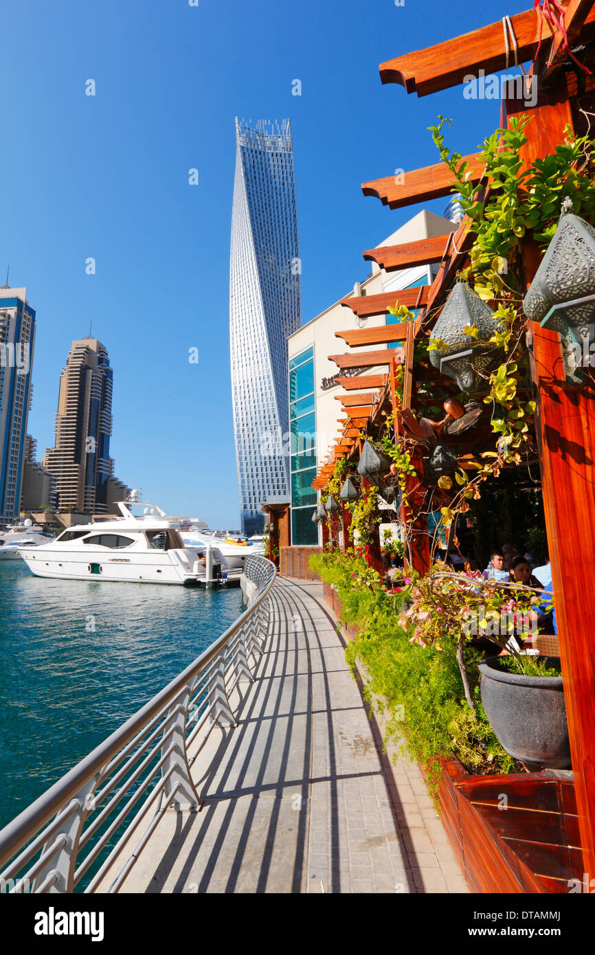 Dubai Marina, restaurant - Stock Image