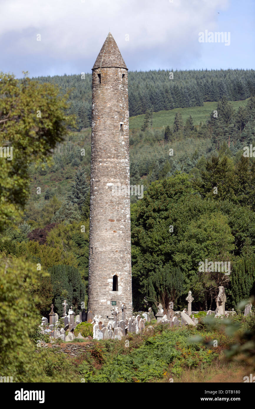 Glendalough Round Tower. A Early Medieval monastic settlement founded in the 6th century by St Kevin, Stock Photo