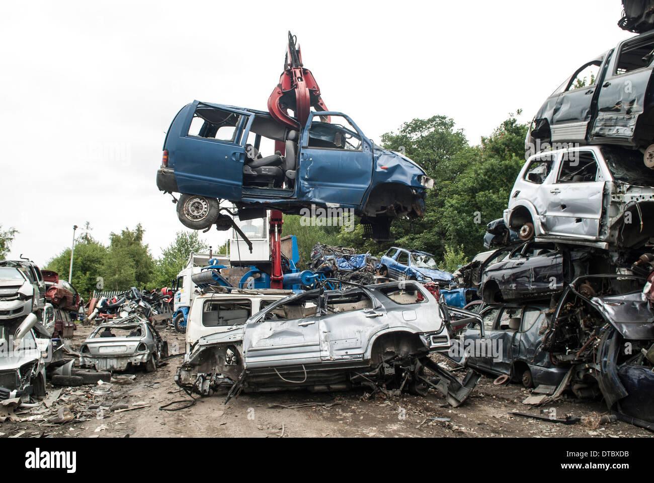 Crushed cars in scrap yard UK Stock Photo: 66645079 - Alamy