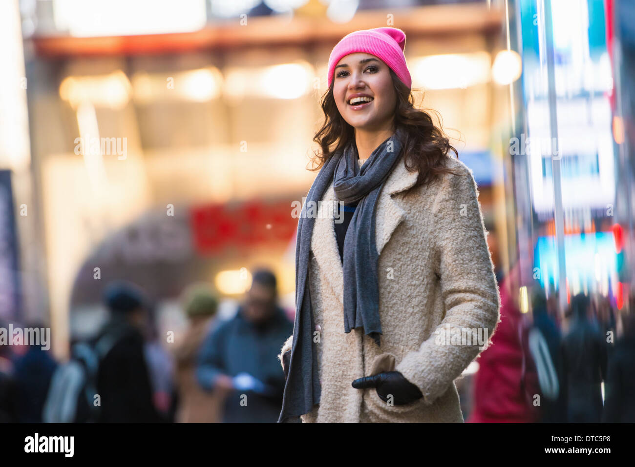 Young female tourist exploring streets, New York City, USA Stock Photo