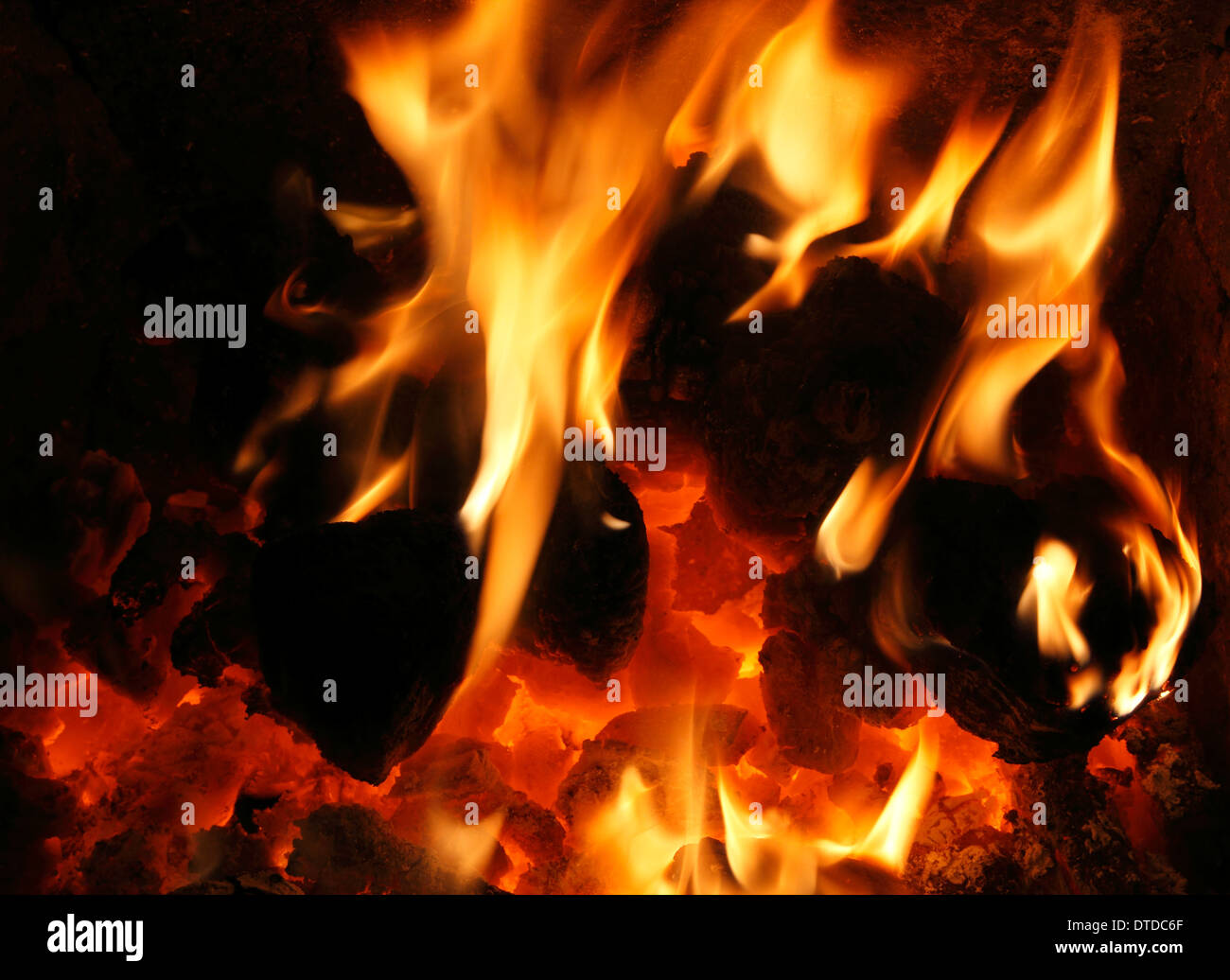 Solid Fuel, domestic coal Fire, burning, flame, flames, hearth, fireside, hea,t energy, power, fires, warmth, warm, - Stock Image