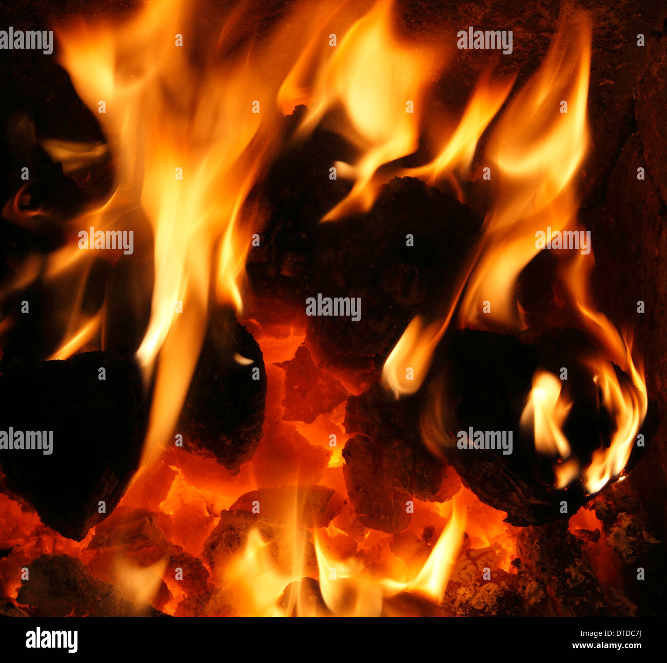 Solid Fuel, domestic coal Fire, burning, flame, flames heart fireside heat energy power fires warmth warm home fires - Stock Image