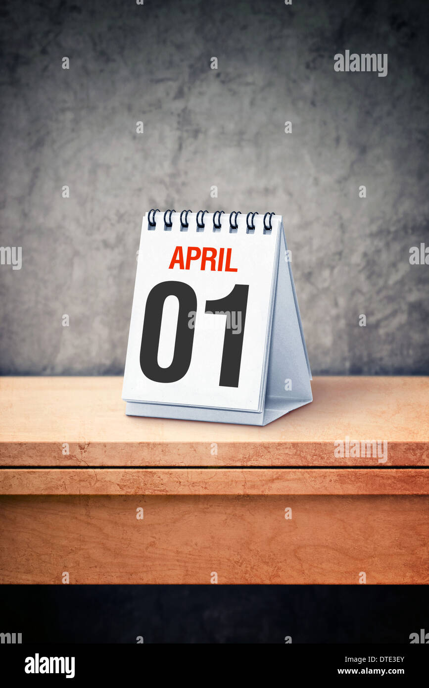 It's April the first, the April Fool's day on table calendar Stock Photo