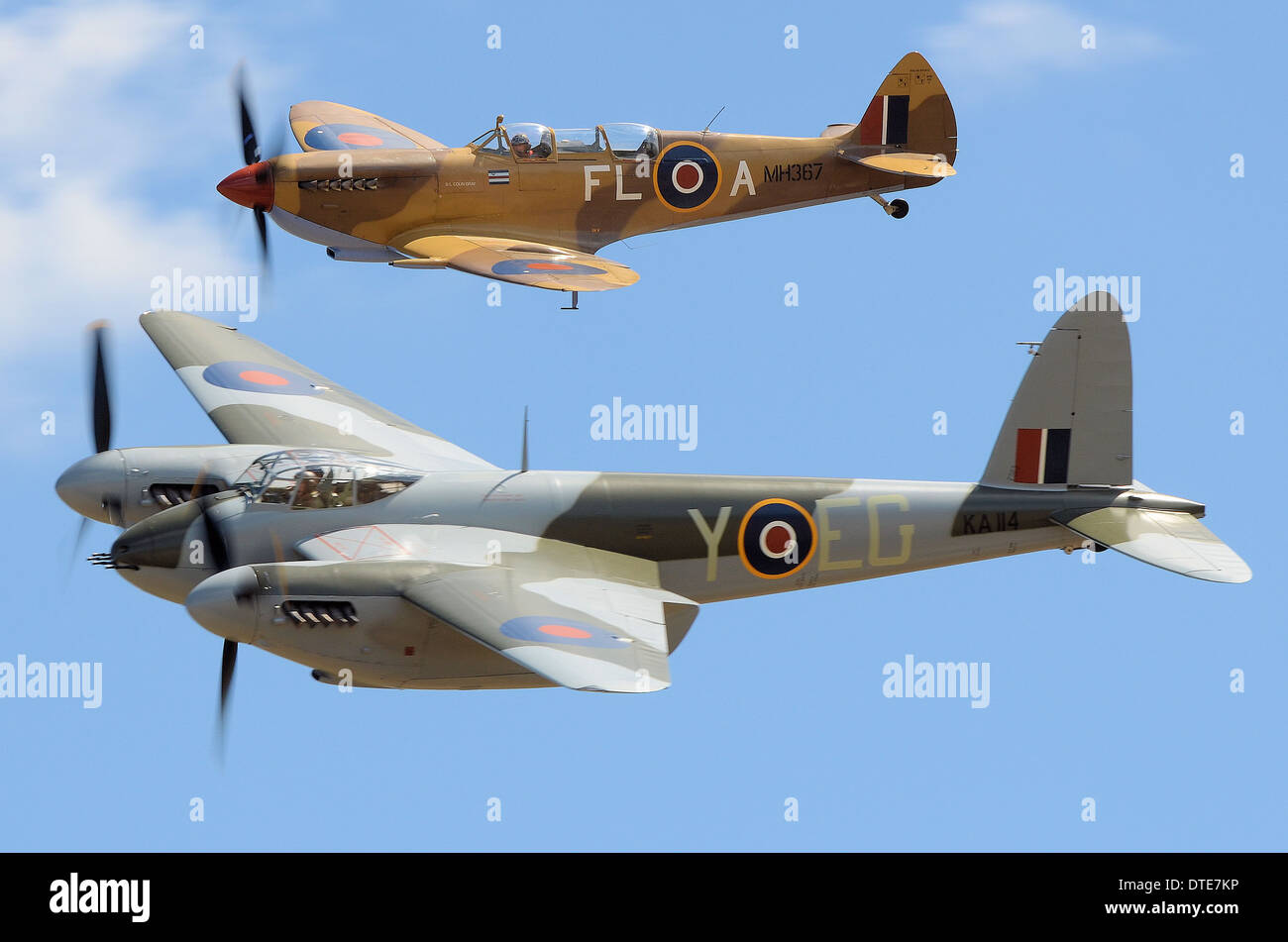 A pairing of a Spitfire and Mosquito in formation. The 'Mossie' illustrated is currently the only one flying in Stock Photo