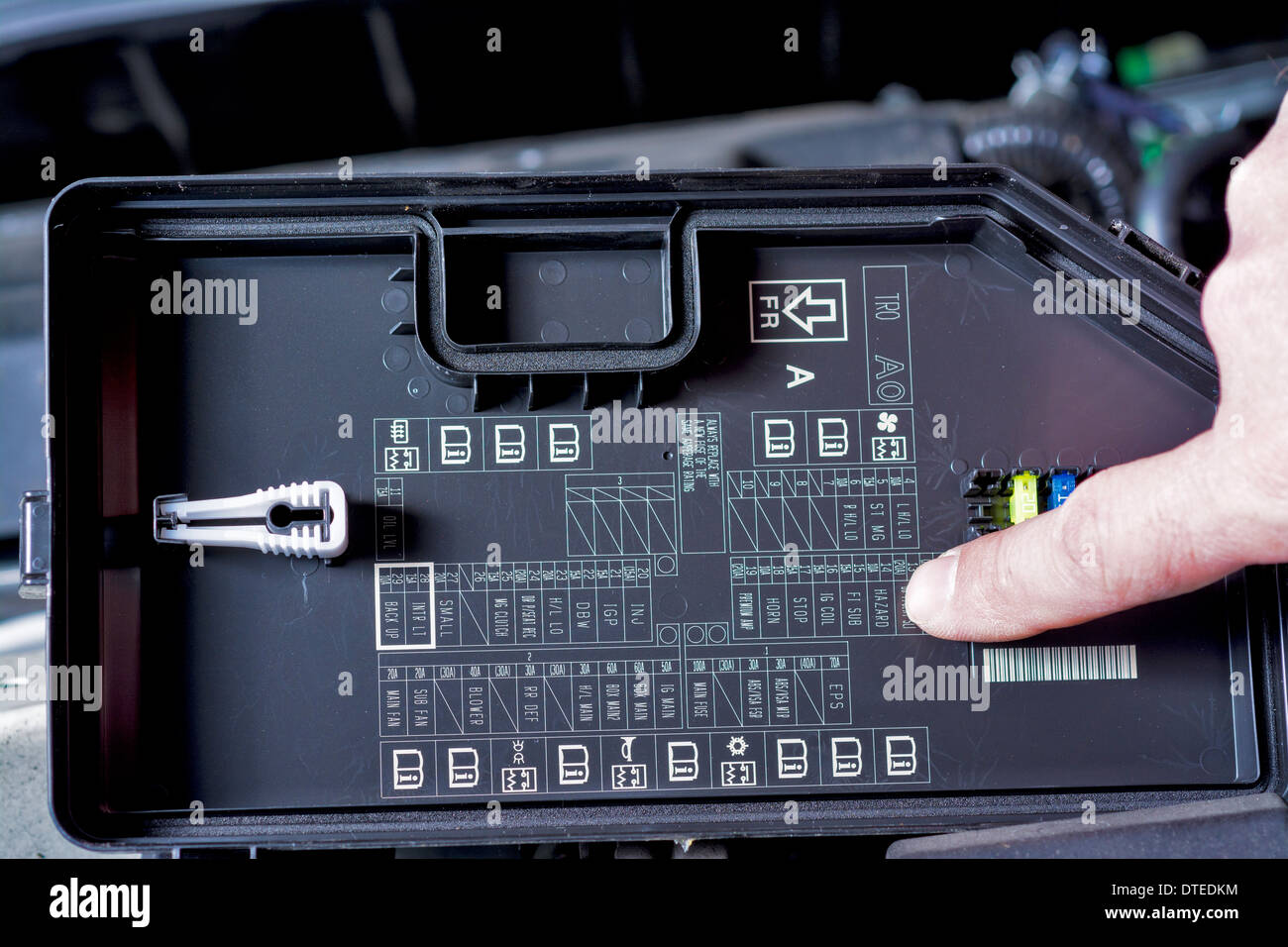 Fuse schematic diagram of engine - Stock Image