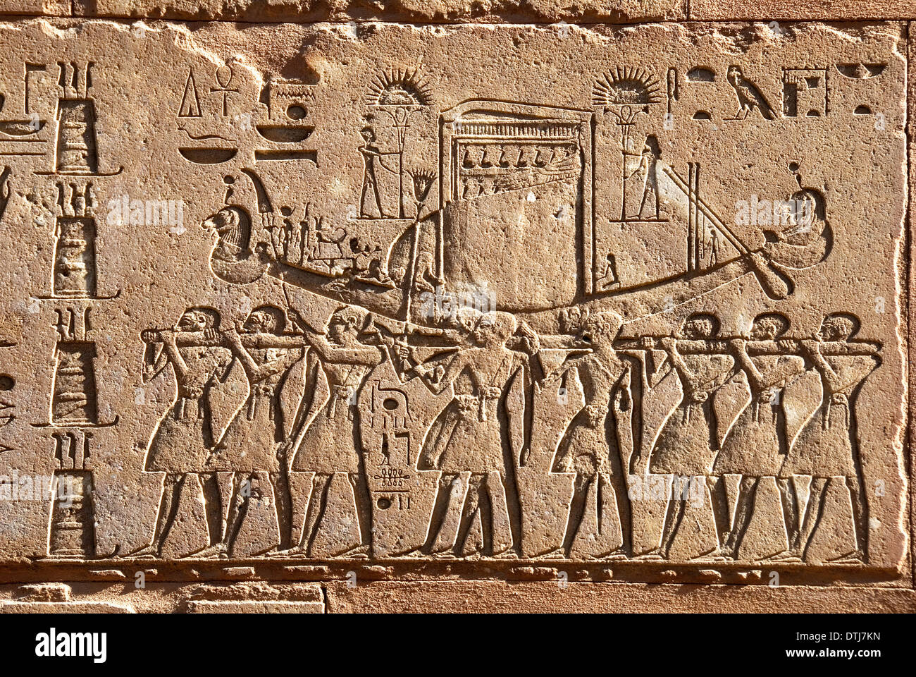 Red Chapel Queen Hatshepsut in Karnak open air museum Egypt: the Solar Boat Stock Photo