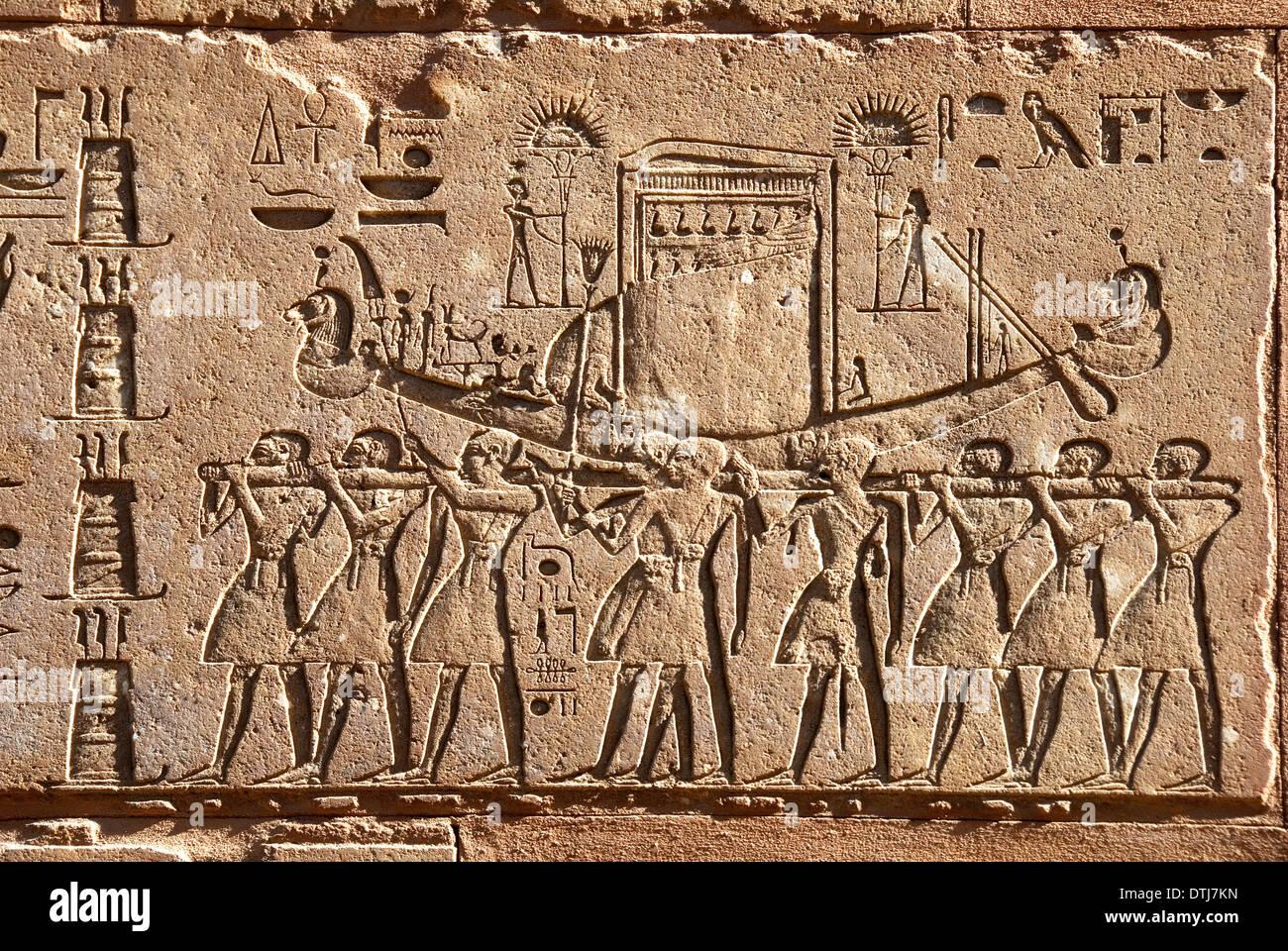 Red Chapel Queen Hatshepsut in Karnak open air museum Egypt: the Solar Boat Stock Photo