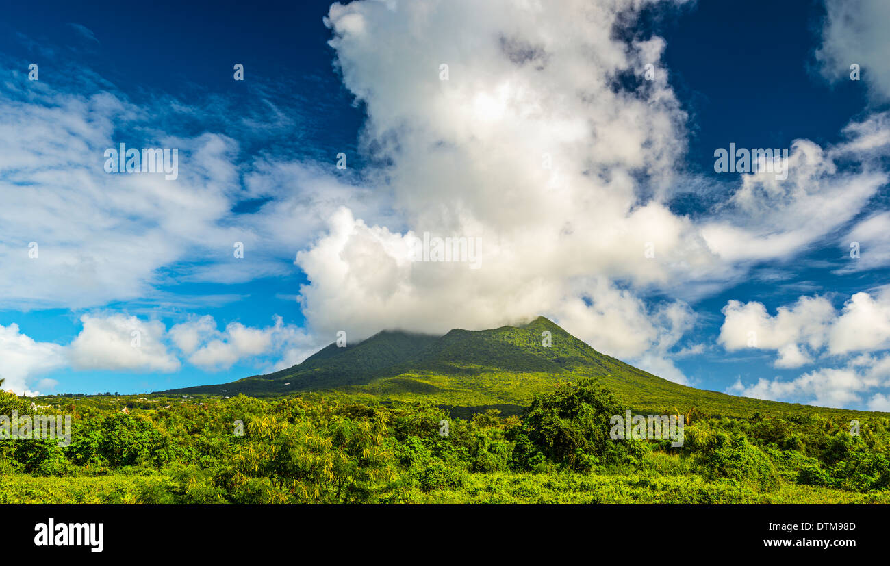 Nevis Peak, A volcano in the Caribbean. - Stock Image