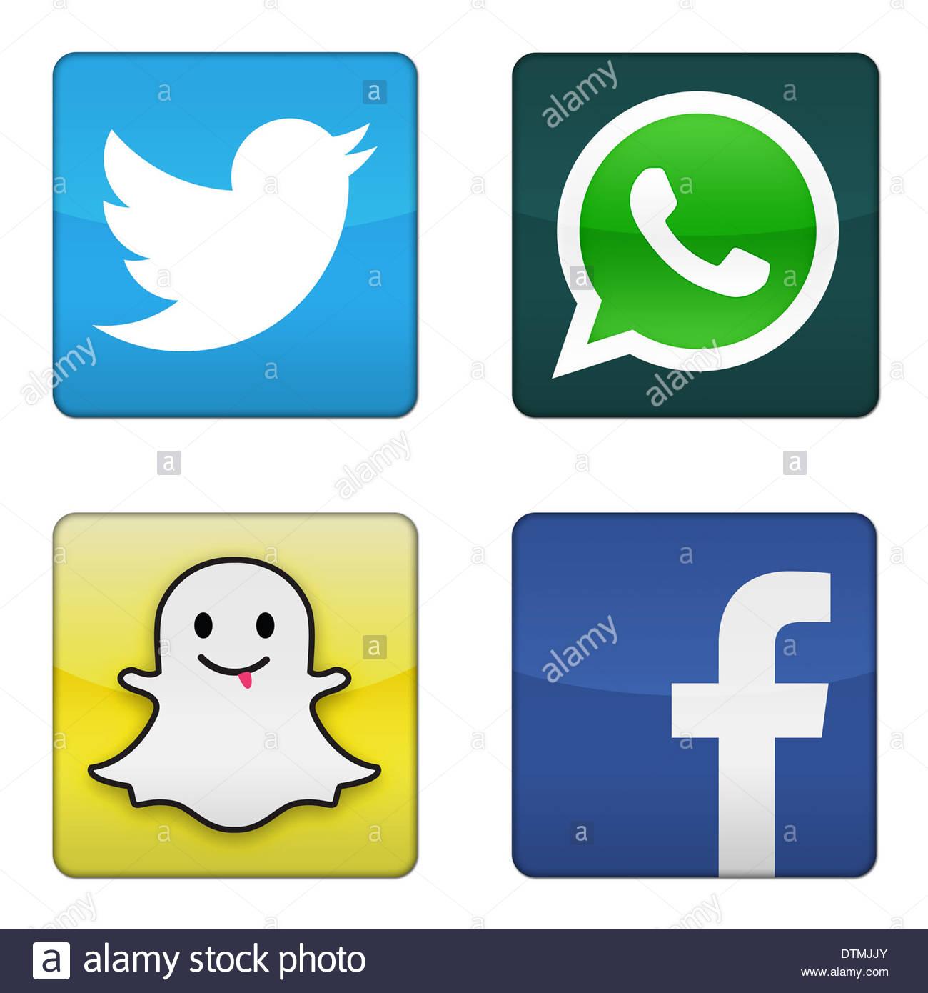 twitter whatsapp snapchat facebook icon logo app button sign stock