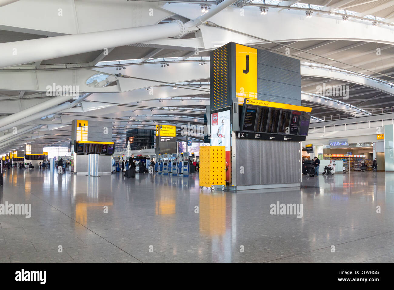 Check in hall at Heathrow airport terminal 5, London, UK - Stock Image
