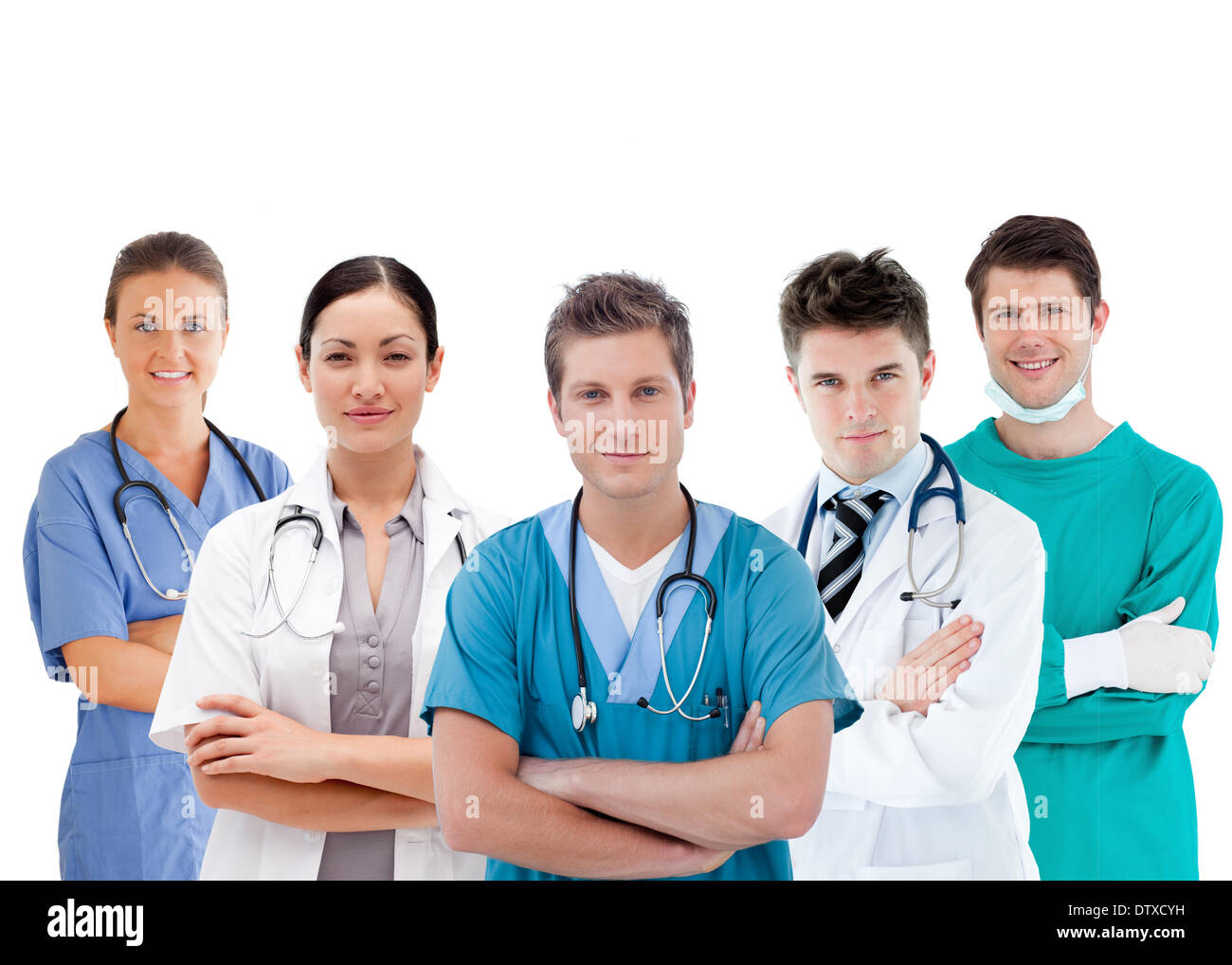 Group of hospital workers standing in line - Stock Image