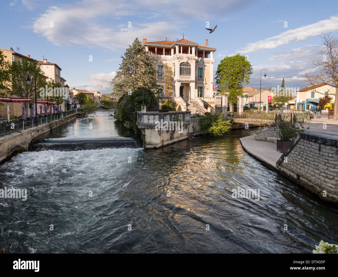 At the confluence a duck takes off. At the joining of two of the many streams in this small Provençal town - Stock Image