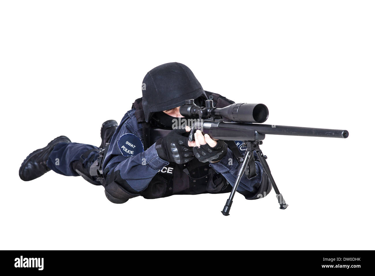 Swat Officer With Sniper Rifle Stock Photo 67008191 Alamy